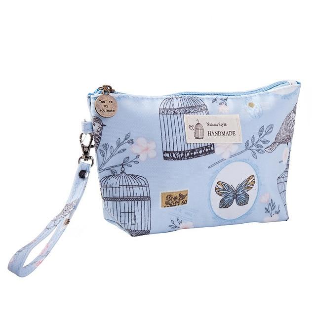 Saco cosmético de impressão floral moda feminina sacos de maquiagem lona cosméticos saco de maquiagem viagem senhora tote lavagem de higiene pessoal bolsa sacos|Bolsas p/ cosméticos|   -