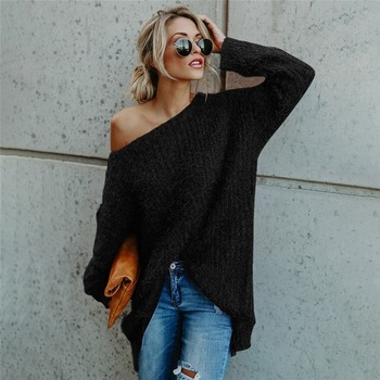 2020 Sweater Dress Off-shoulder Long Solid Color Ladies Sweaters Loose Casual Round Neck Streetwear Top Plus Size Clothing leaf printed plus size off shoulder asymmetric top