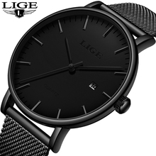 LIGE New Watches Mens 2020 Man Fashion Simple Stainless Steel Dial Date Thin Watch For Men Luxury Casual Waterproof Quartz Clock fashion simple stylish luxury brand crrju watches men stainless steel mesh strap thin dial clock man casual quartz watch black