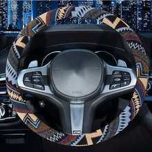 Car Steering Wheel Cover Ethnic Style Steering-wheel Covers Auto Decoration Accessories Linen Universal