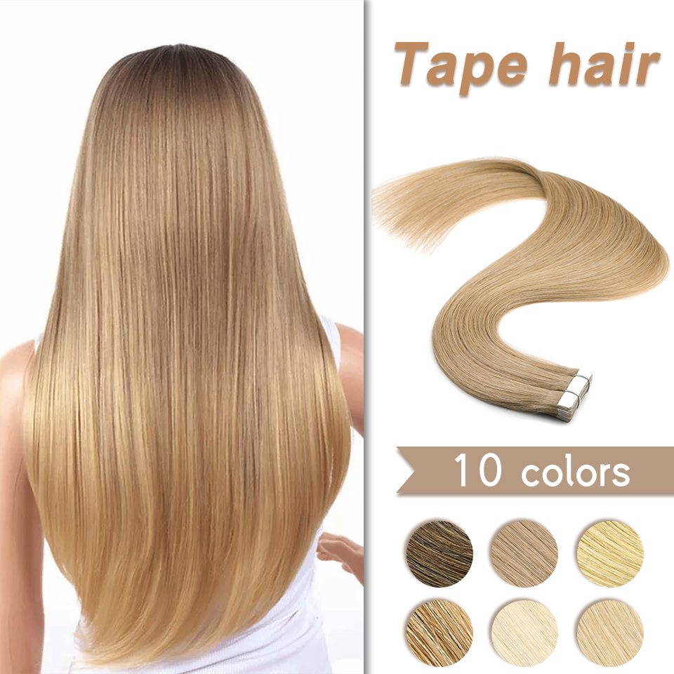 WIT Natural Tape In Hair Extensions European Seamless Invisible Skin Weft 12