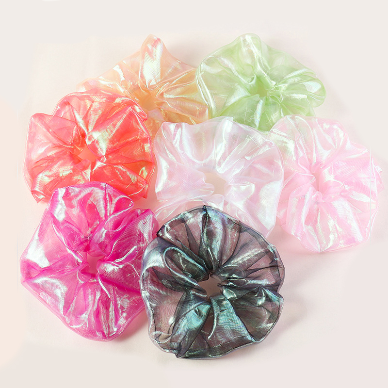 1PC Glitter Scrunchie Colorful Organza Elastic Hair Tie Rubber Band Shinny Ponytail Holder Scrunchies Hair Rope Hair Accessories