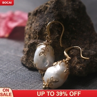 zircon with high grade natural hollow out of special shaped lace pearl earrings ear hook female accessories wholesale