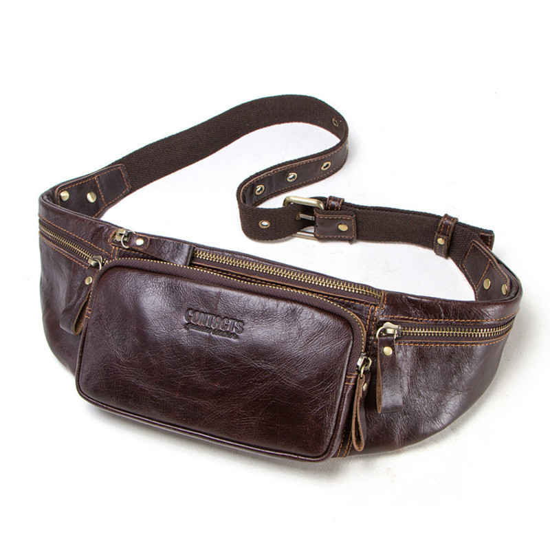 2020 Real Cow Leather Men Waist Bag New Casual Small Fanny Pack Male Waist Pack For Cell Phone And Credit Cards Travel Chest Bag