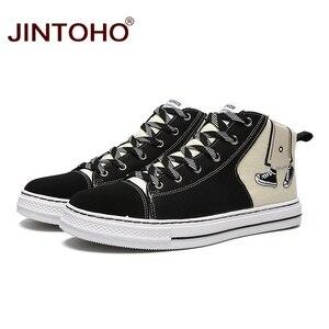 Image 2 - JINTOHO baskets unisexes à la mode, bottes en toile, chaussures unisexes à la mode pour hommes, hiver décontracté