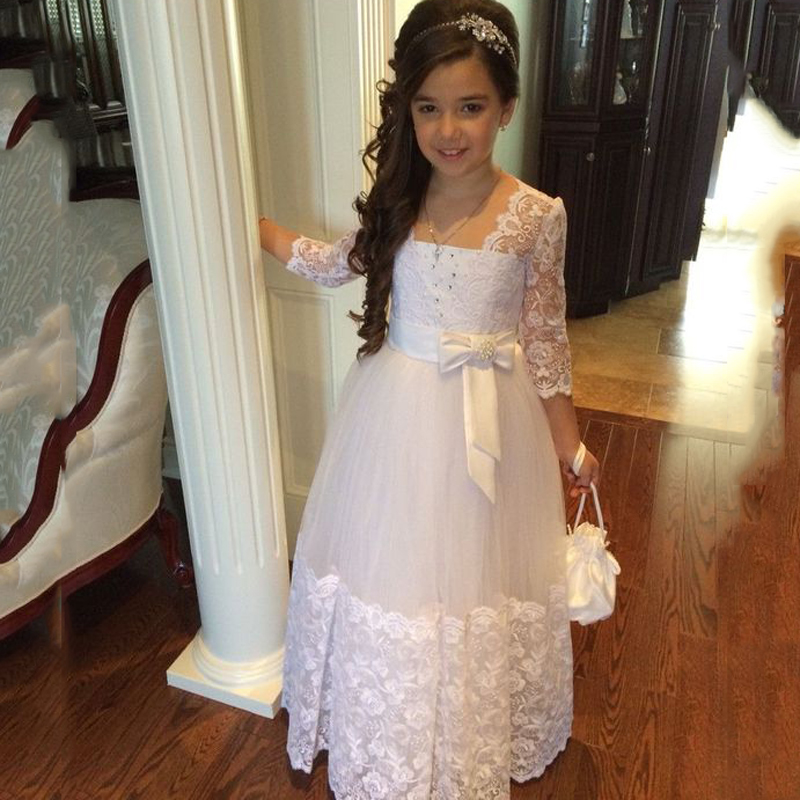 3/4 Sleeves 2019 Flower Girl Dresses For Weddings A-line Tulle Appliques Lace Beaded Long First Communion Dresses Little Girl