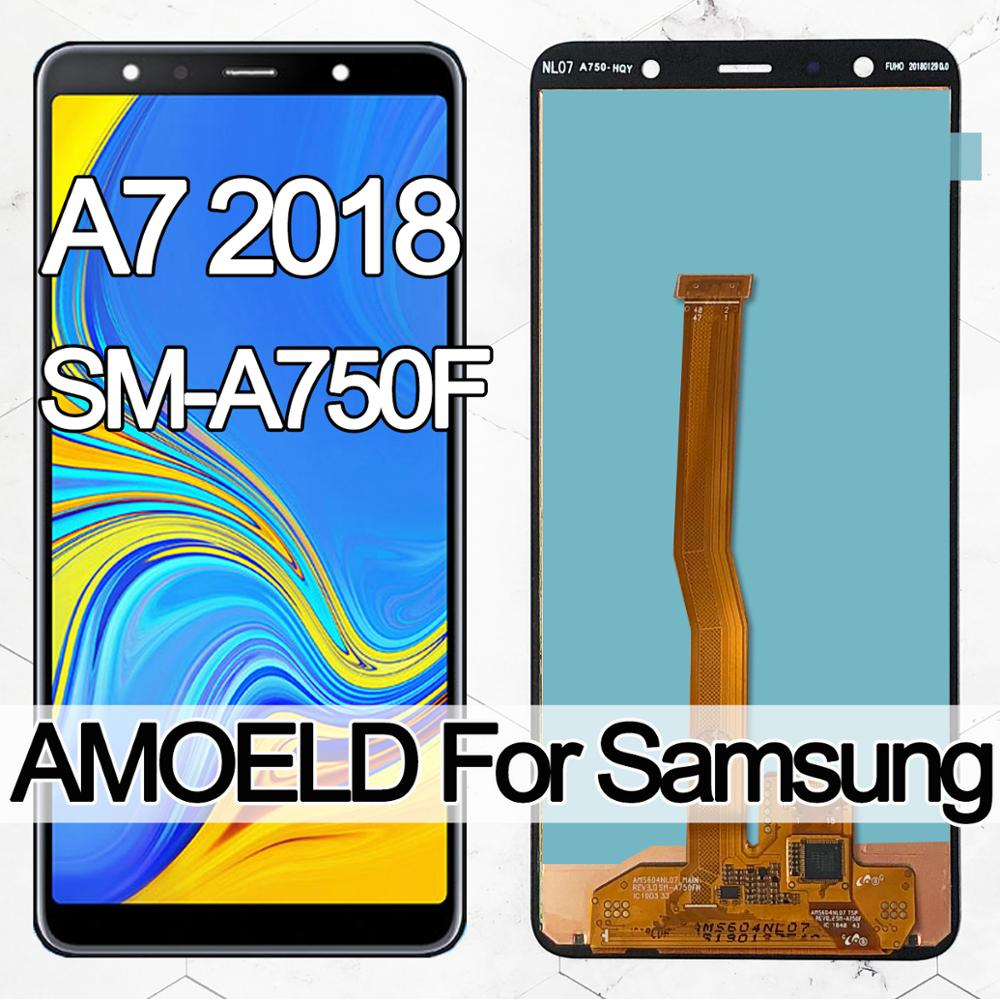 6.0'' Super AMOLED LCD For <font><b>Samsung</b></font> <font><b>Galaxy</b></font> <font><b>A7</b></font> <font><b>2018</b></font> A750 SM-A750F A750F lcd <font><b>Display</b></font> With Touch Screen Assembly Replacement Part image