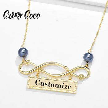 Cring Coco Personalized Gold Necklaces Chain Infinity Geometric Pendants Necklace Hawaiia Pearl Fashion New Year Gifts for Women