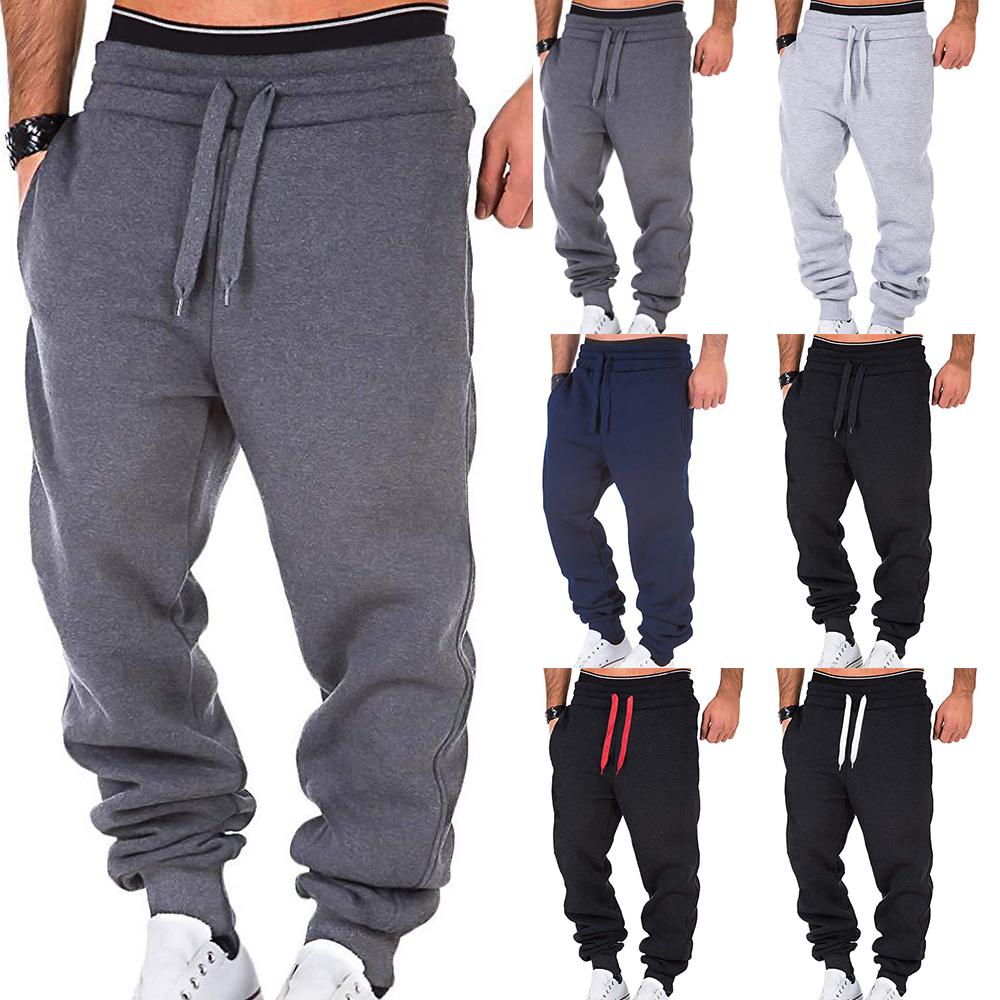 2020 New Men Loose Sweatpants Casual Joggers Sportswear Elastic Solid Drawstring Trousers Male Patchwork Workout Pants Pocket