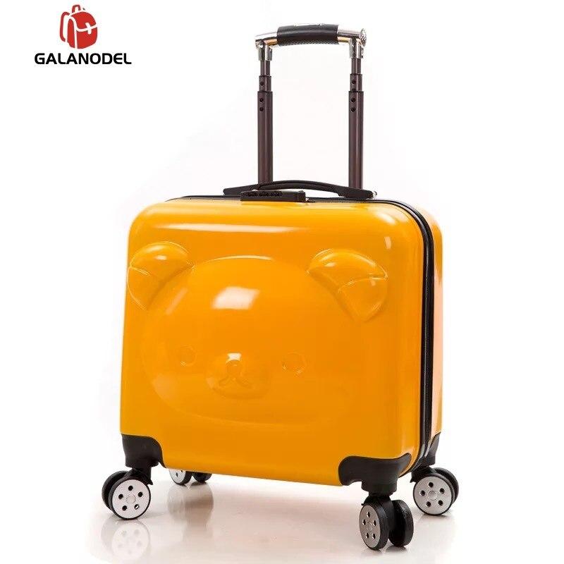 Bear Kid's Travel Trolley Luggage Suitcase Trolley Bag On Wheels Travel Case Children Rolling Suitcase For Boy Girls Cartoon Box