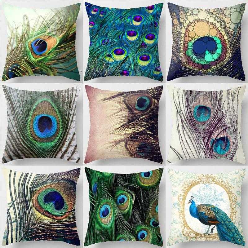>1Pcs <font><b>Colorful</b></font> Peacock <font><b>Feather</b></font> Polyester Cushion Cover Decorative Pillow For <font><b>Sofa</b></font> Seat Car Waist Cojines Home Decor 45*45cm 40826