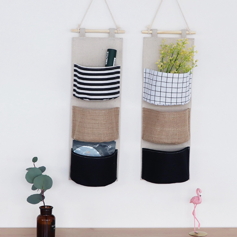 Wall Hanging Organizer Storage Bag Toys Decor Pocket Pouch Cloth Sundries Container Save Space Green Home Storage Supplies*a