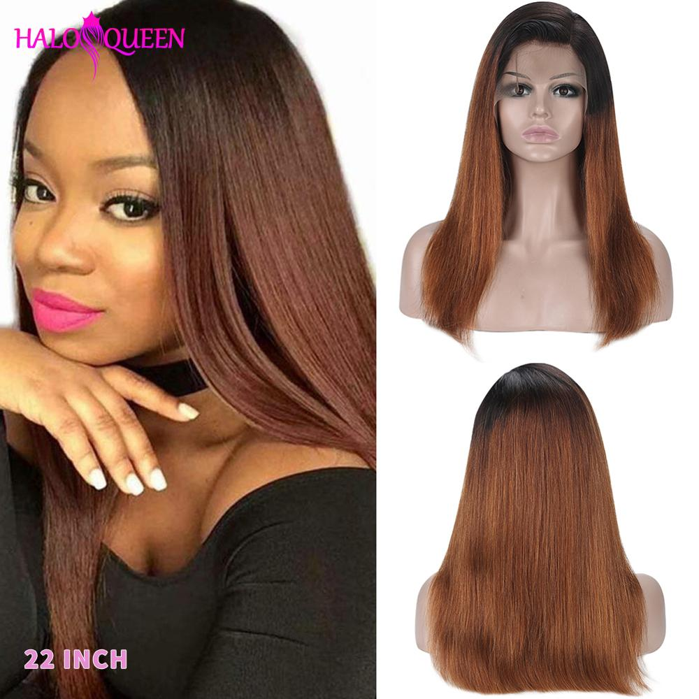 HALOQUEEN Straight Remy Hair Lace Front Human Hair Wigs 130% 150% Density Color 13*4 Lace Front Wigs For Women Bleached Knot