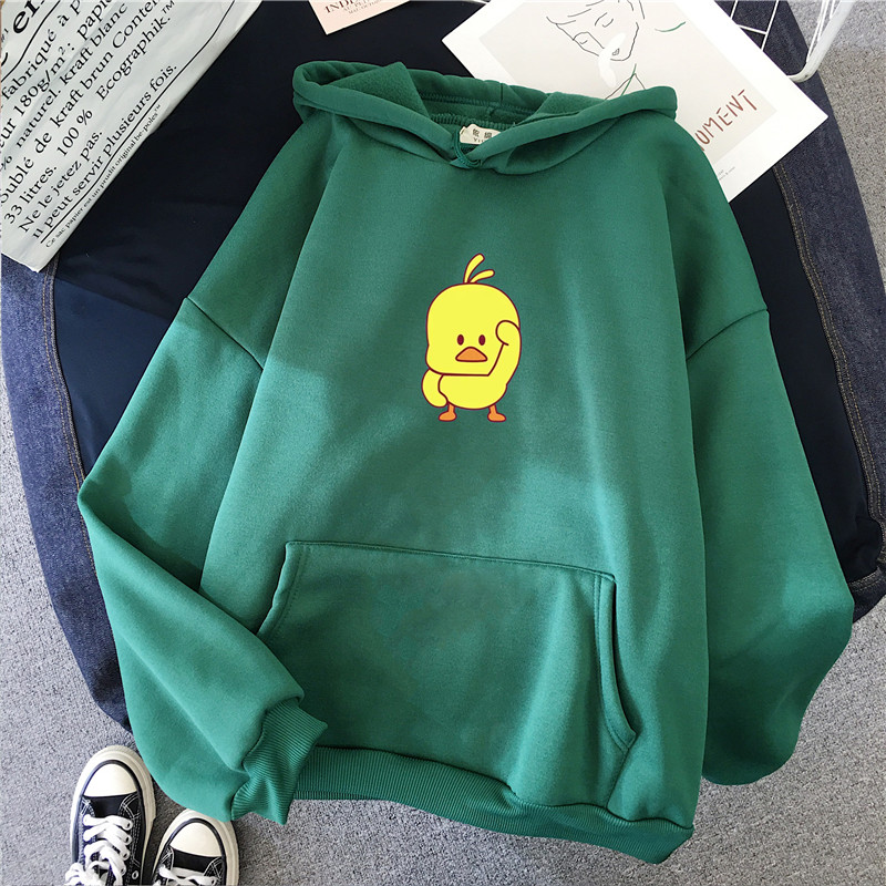 Cartoon Yellow Chick Hoodie Women Kawaii Hoodie Sweatshirt Anime Harajuku Hoody Autumn Tumblr Casual Tops Cute Funny Sweatshirts