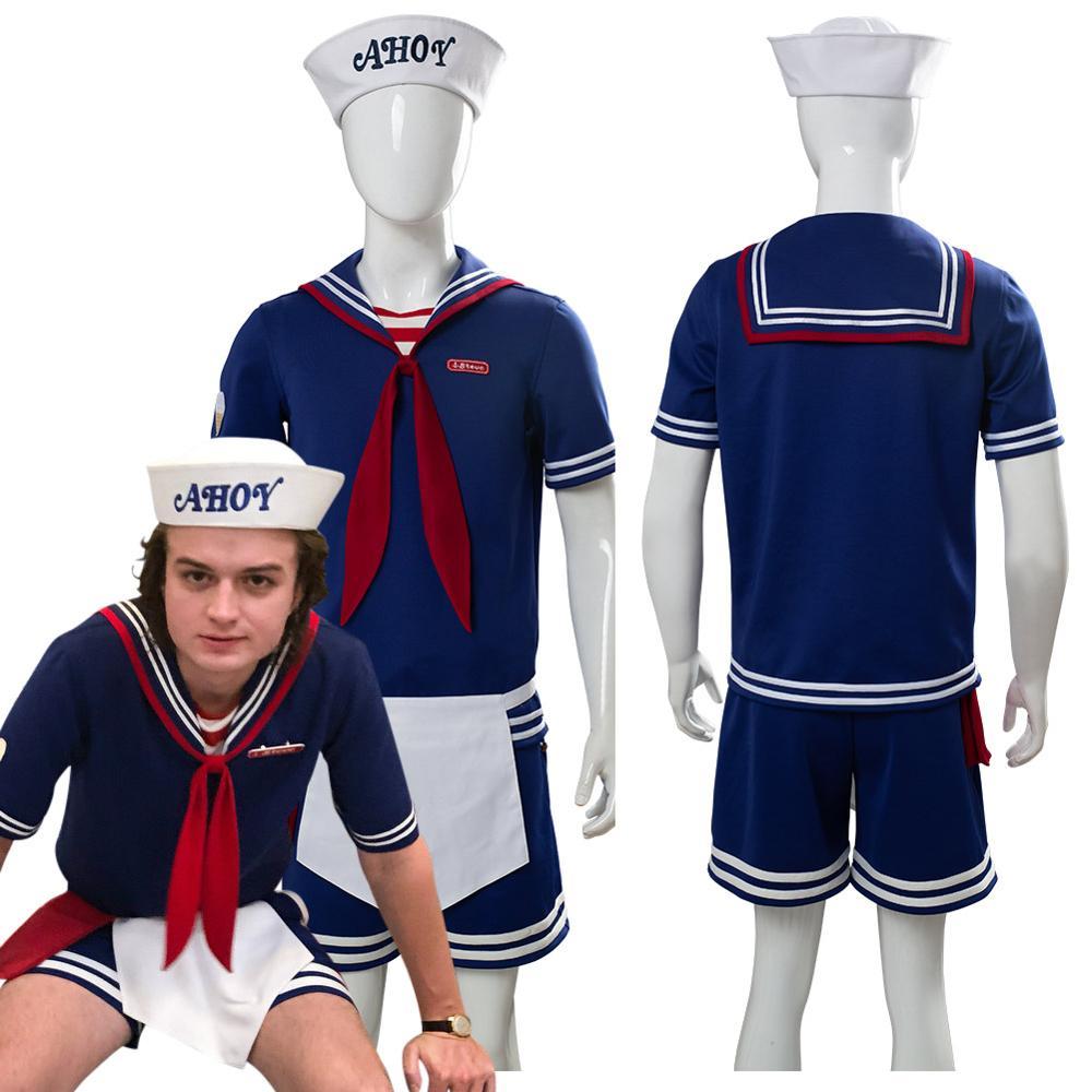 Stranger Things 3 Robin Scoops Ahoy Cosplay Costume Dress Steve Harrington Adult Uniform Working Sailor Suit Halloween Carnival