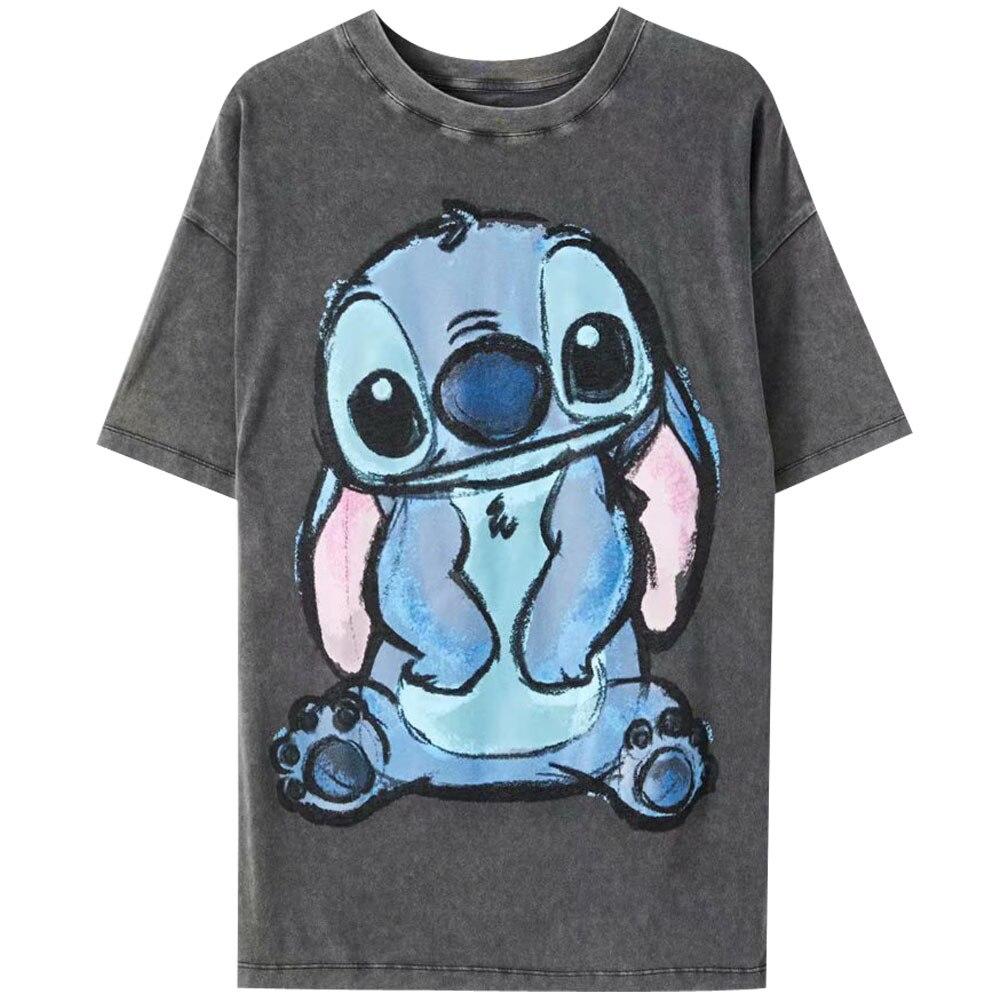 H080db22ca4704f0c86db0b987e1c335bP Disney Family T-Shirt Fashion Winnie the Pooh Mickey Mouse Stitch Fairy Dumbo SIMBA Cartoon Print Women T-Shirt Cotton Tee s