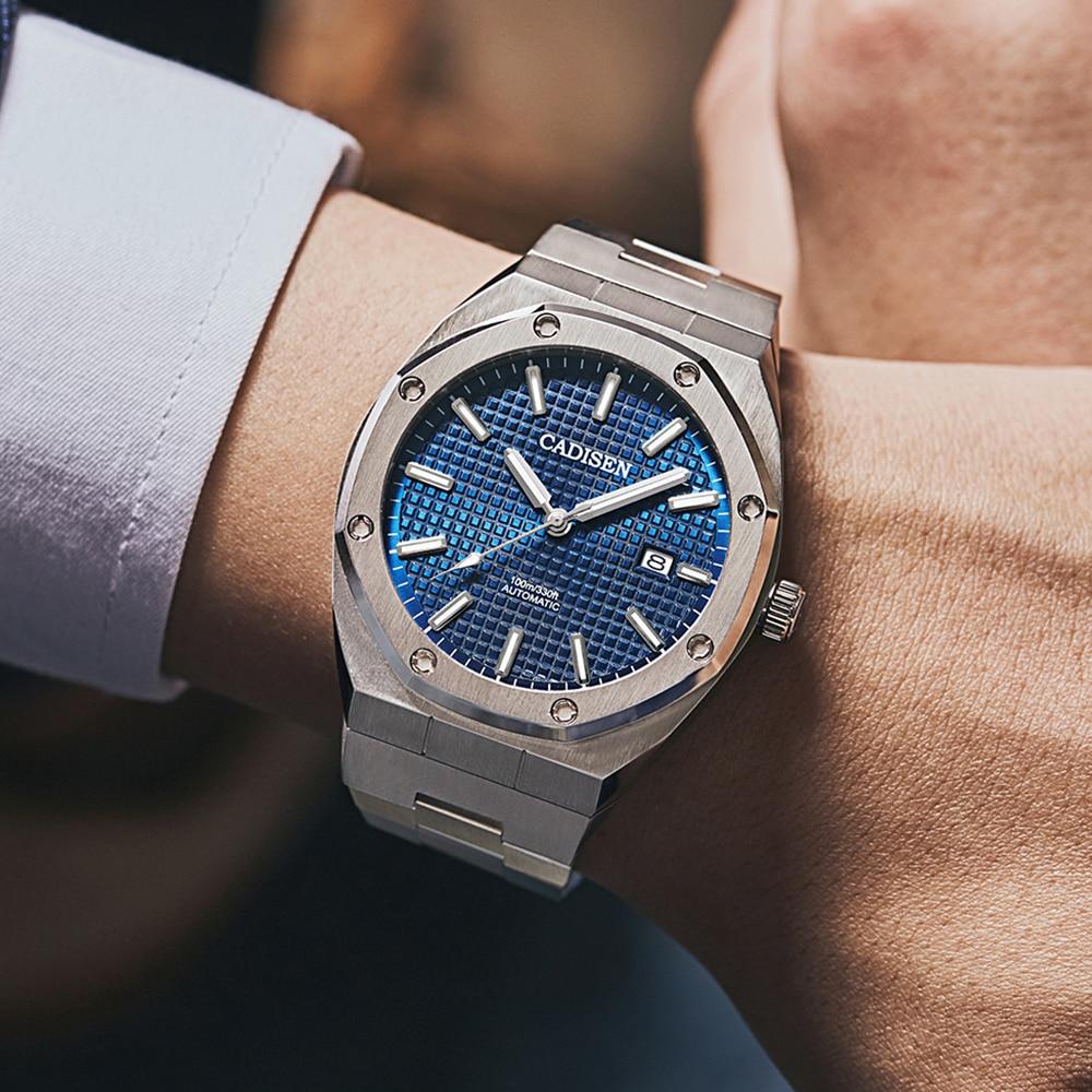 CADISEN Design Brand Luxury Men Watches Mechanical Automatic Blue Watch Men 100M Waterproof Casual Business luminous Wristwatch 4