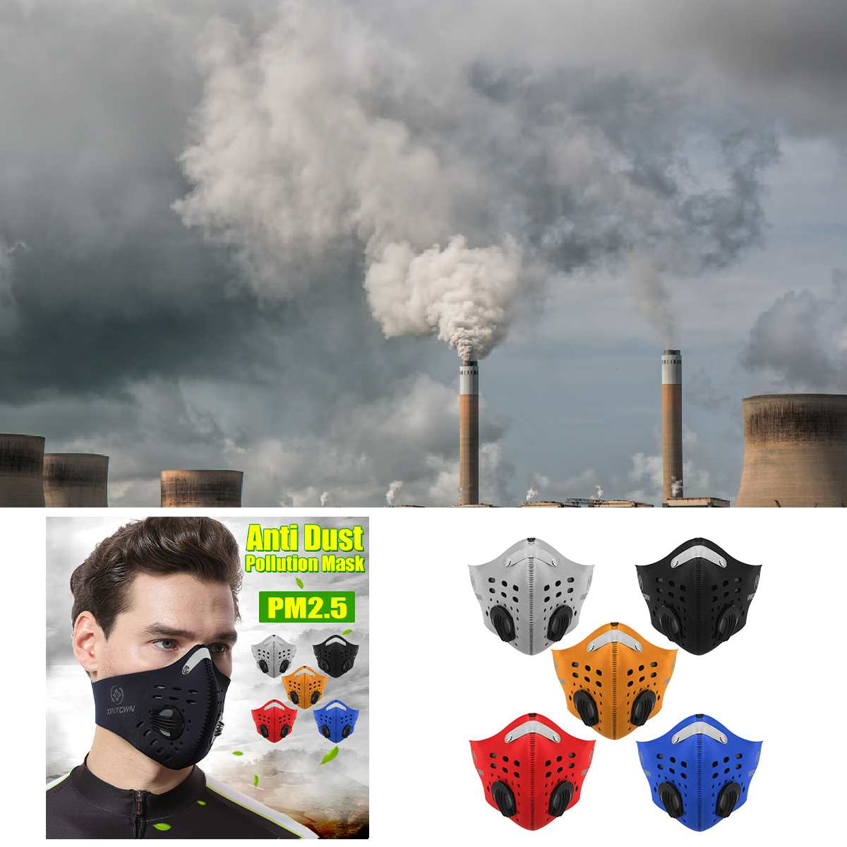 10Pcs Anti Pollution PM2.5 Mouth Mask Anti Dust Respirator Reusable Masks  Nylon Unisex Mouth Mask for Sports/Travel/Cycling 1