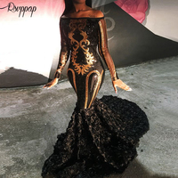 Black Mermaid Long Prom Dresses 2020 Sexy Sheer Long Sleeve Boat Neck Golden Sequin African Black Girl Prom Dress For Party