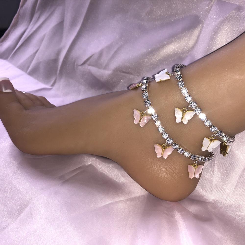 Crystal Butterfly Anklets For Women Rhinestone Leg Bracelet Beach Foot Chain Boho Jewelry Ankle Bracelets