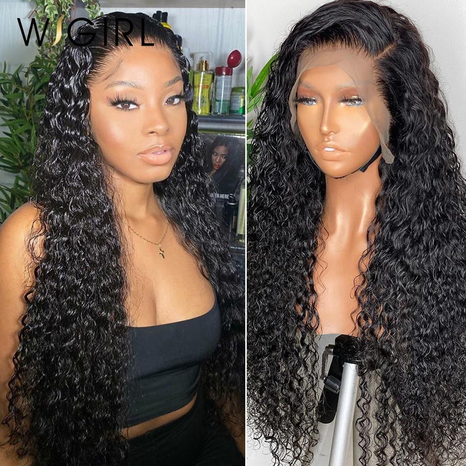 Wigirl água brasileira encaracolado 13x4 frente do laço perucas de cabelo humano 26 28 30 Polegada onda profunda longa peruca frontal para preto