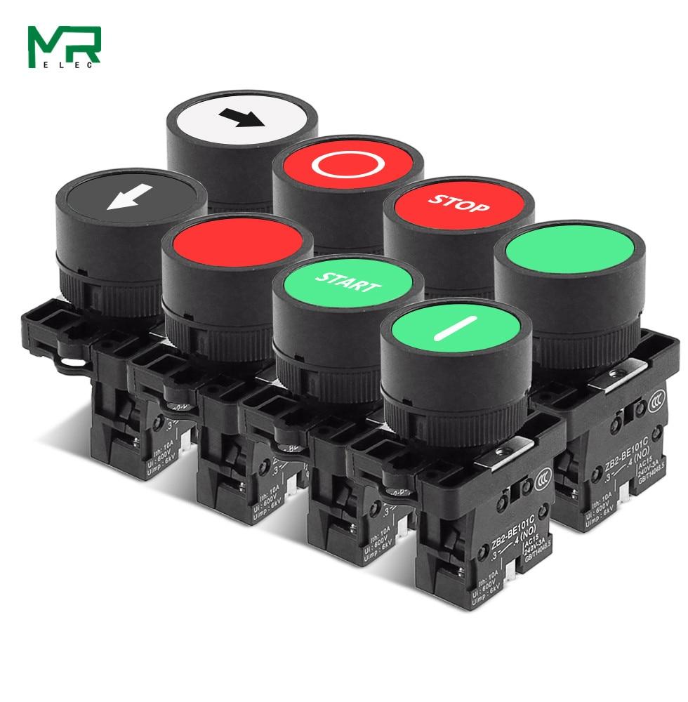 22 мм Кнопка автоматического сброса кнопка пуска кнопка остановки со стрелкой символ XB2 плоский сенсорный 1NC/1NO кнопка переключения серия