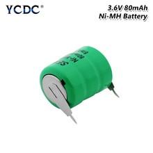 1/2/4/6/8/10 Pcs Grün Power 80mAh 3,6 v Wiederaufladbare Zelle Batterie Ni-Mh ni MH Batterien Mit Schweißen Pins Für Drahtlose Kopfhörer