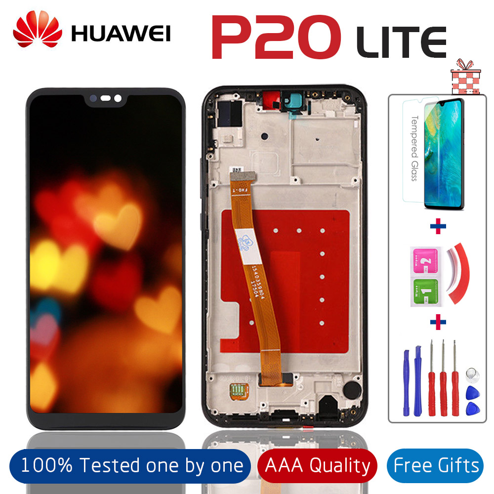 100% Tested LCD Display +Touch Screen Digitizer Full Assembly Replacement With Frame For HUAWEI P20 Lite ANE-LX1 ANE-LX3 Nova 3e