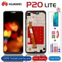 100% przetestowany wyświetlacz lcd + ekran dotykowy Digitizer pełny zestaw do wymiany z ramką do HUAWEI P20 Lite ANE LX1 ANE LX3 Nova 3e w Ekrany LCD do tel. komórkowych od Telefony komórkowe i telekomunikacja na