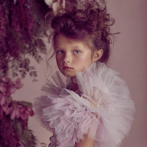 Image 5 - فستان بناتي مطرز بالدانتيل ومكشكش للكريسماس مصنوع يدويًا للأطفال فساتين منتفخة بالترتر لحفلات الأميرات ملابس للفتيات CA968