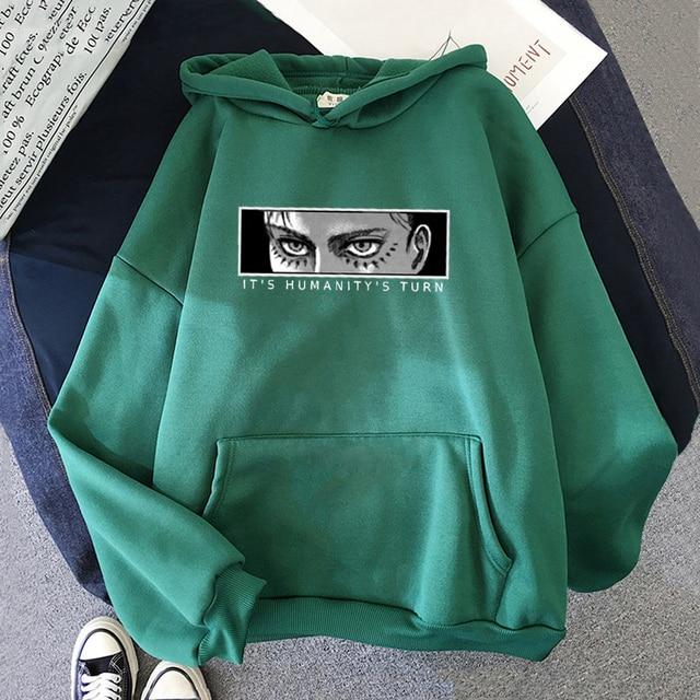 Anime Attack on Titan Hoodie Eren Yeager Print Classic Sweatshirts Funny Cartoon Harajuku Womens Mens Hip Hop Streetwear Jacket 4