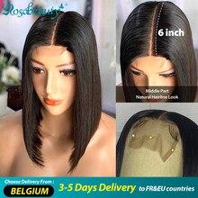 Rosabeity brasileiro curto bob remy em linha reta 2x6 fechamento do laço frente perucas de cabelo humano peruca frontal para preto