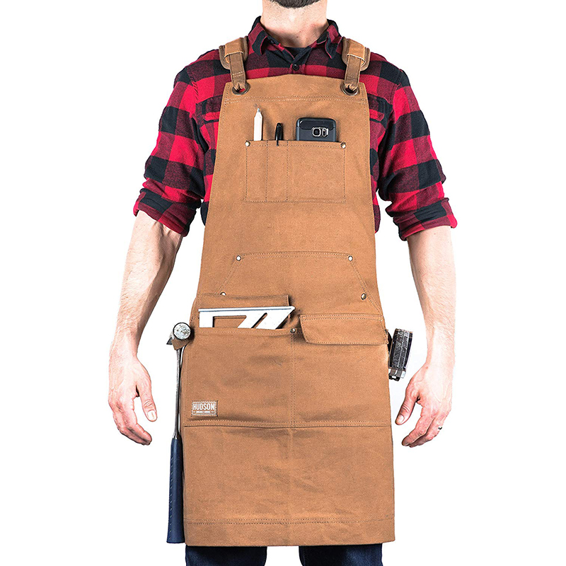 Durable Work Tool Apron Woodworking Heavy Duty Waxed Canvas Aprons Cross-Back Straps With Tool Pockets Adjustable M To XXL