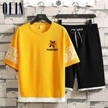 Conjunto de duas peças de verão 2021 nova manga curta t camisa topos + shorts conjuntos de fato de treino masculino moda t-shirts conjunto