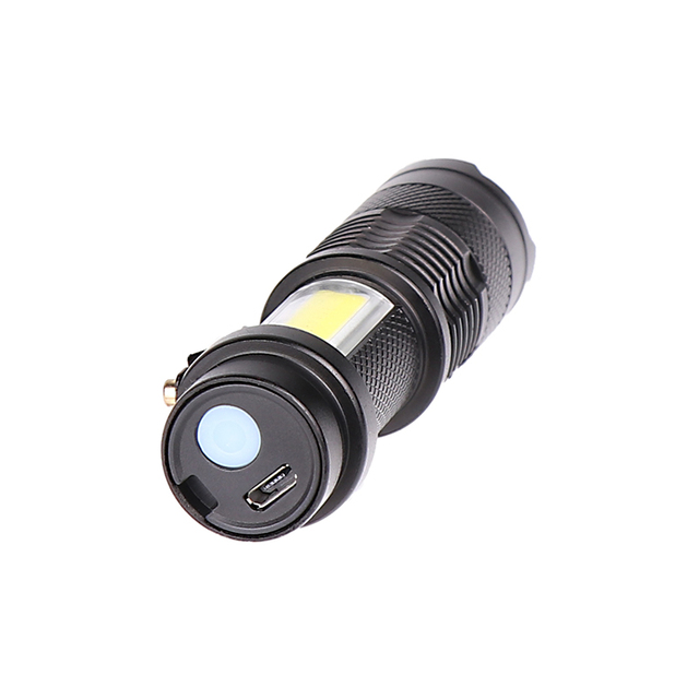 Newest Design XP-G Q5 Built in Battery USB Charging Flashlight COB LED Zoomable Waterproof Tactical Torch Lamp LED Bulbs Litwod 2