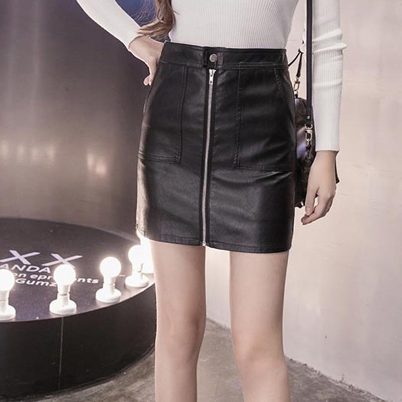 Fashion Zipper PU Leather Skirt Women Elegant Black High Waist Zip Front Mini Skirt Sexy Sheath Knee Bodycon Office Lady Skirt