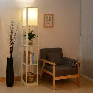 Image 3 - Moderno led decorativo loft lâmpada de assoalho de madeira preto branco lâmpada pé com prateleira armazenamento mesa para casa sala estar quartos