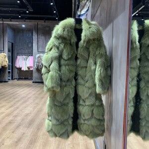 Женское зимнее пальто высокого качества из натурального Лисьего меха, новинка 2019 года, длинная куртка с v-образным вырезом, элегантное удобн...