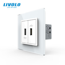 Livolo White Crystal Glass Panel, Two Gang USB Plug Socket / Wall Outlet VL-C792U-11/12/13/15,4colors,no logo