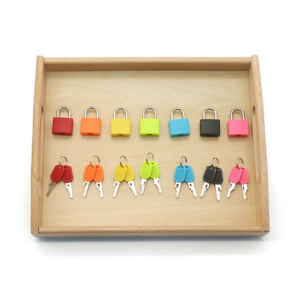 Montessori Colorful Locks Set Educational Sensory Toys For Children 2-4 Years Sensorial Materials Juguetes Montessori MJ1064H