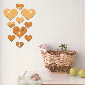 10Pcs/Set Durable Love Heart Stickers Wall Sticker Mirror Mural 3D Decal Simple DIY Decorative Removable Paster Home Decoration