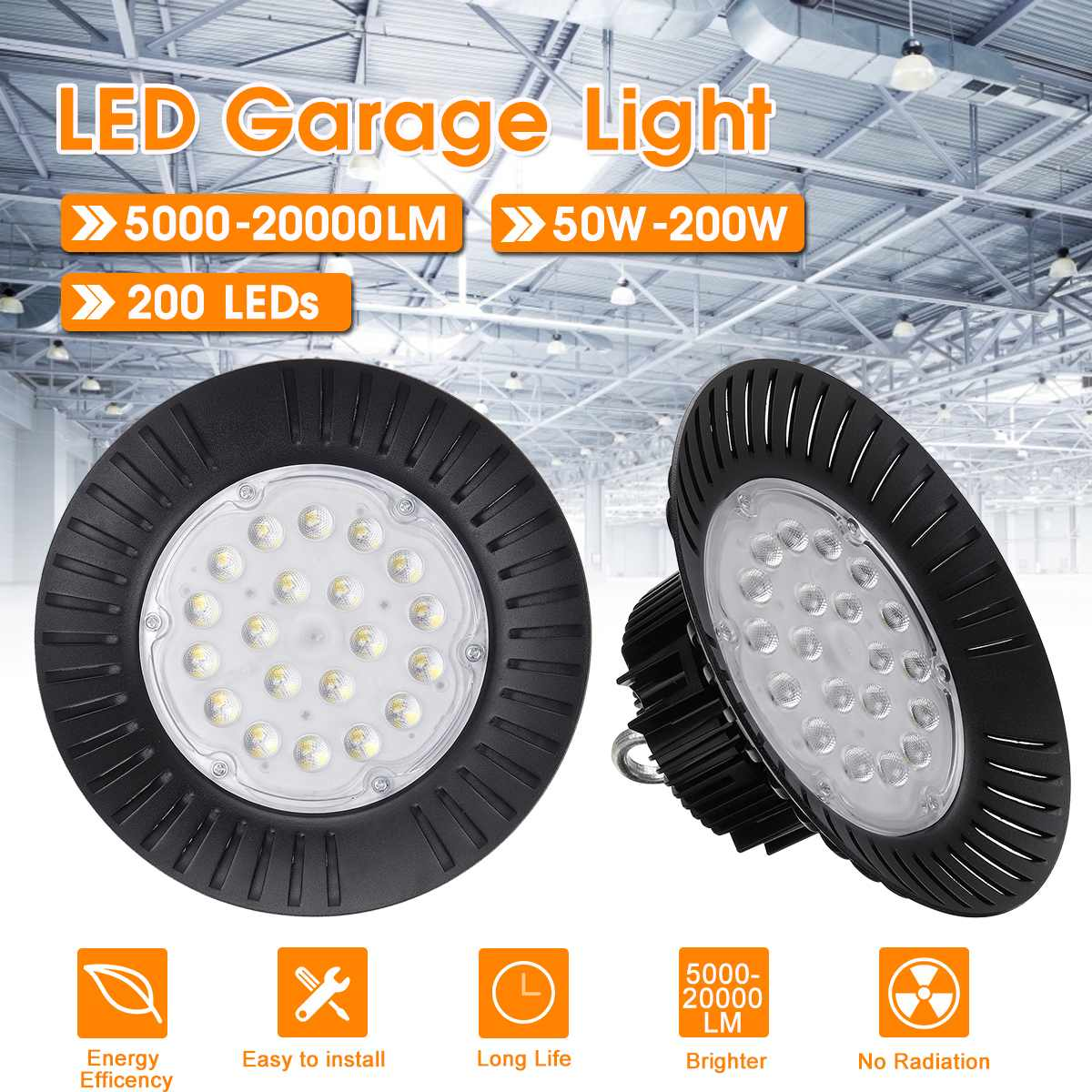200W Super Bright IP65 Waterproof Garage Lamp 5-20KLM Industrial Lighting LED High Bay Light For Warehouses Football Field