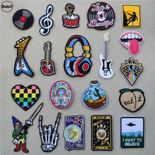 (46 Style can Choose) Music Guitar Patches for Clothing Headset Embroidered Appliques Iron on Badges Stripes Stickers on Clothes
