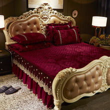 European Embroidery Lace Velvet Bedspread Ruffle Queen Double Embossed Quilted Cotton Bed Cover King Bedskirt Set Soft Warm 3pcs(China)