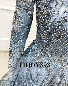 Image 5 - Дубай вечернее платье с длинными рукавами ТРАПЕЦИЕВИДНОЕ кружевное роскошное вечернее платье с кристаллами и бусинами официальное вечернее платье Vestido de Festa Longo