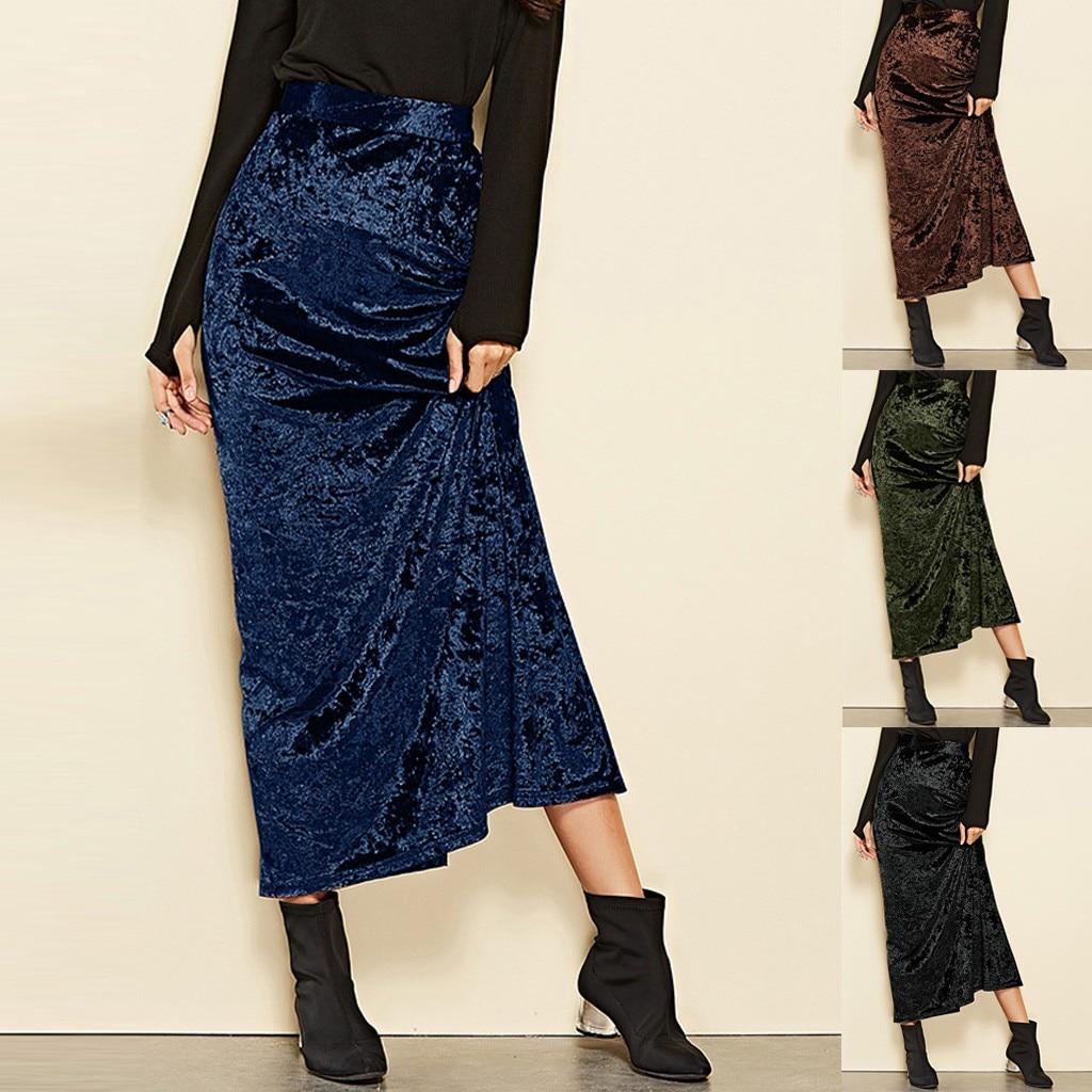 Skirts Womens Fashion High Waist Velvet Skirt Solid Elegant Gold Velvet Skirt Split Long Skirt Faldas Mujer Moda 2019#XP10