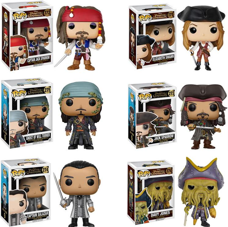 FUNKO POP Anime Pirates Of The Caribbean JACK SPARROW CAPAIN SALAZAR PVC Model Movie Collection Action Figure Toys