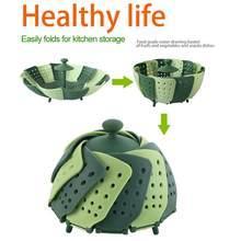 Panelas de plástico cozinhar comida cesta malha silicone torneira navio dobrável comida vegetal panela vapor prato dobrável