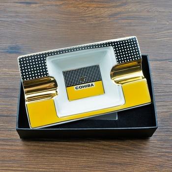 COHIBA Portable Cigar Ashtray Home Ceramic Luxury Tobacco 2 Rest Holder
