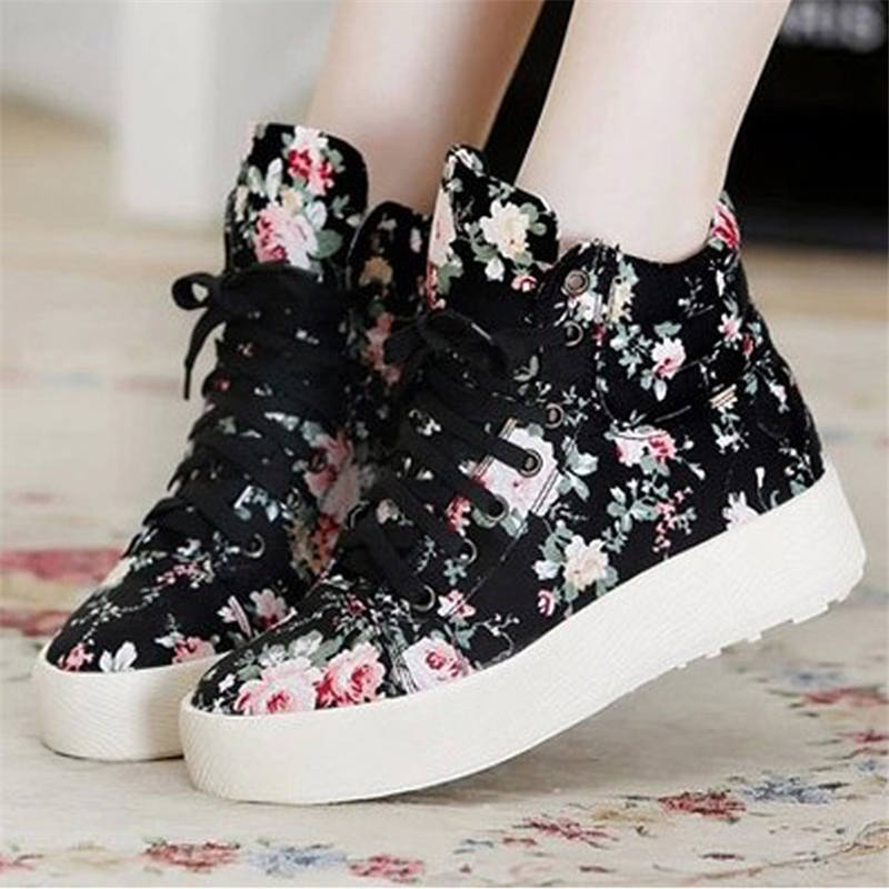 2020 New Casual Shoes Women Increased Shoe for Female Fashion Canvas Floral Sneakers Lace-up Women Shoes Zapatos De Mujer